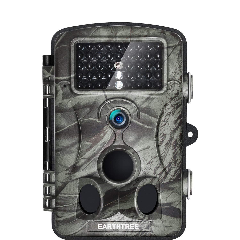 EARTHTREE Wildkamera Fotofalle Full HD 1080P 12M Jagdkamera mit 120°Weitwinkel Objektiv Fotofalle, 42 Low Glow Infrarot LEDs, 20m Nachtsicht, 2.4 LCD Display, Wasserdichte 2.4 LCD Display TC800