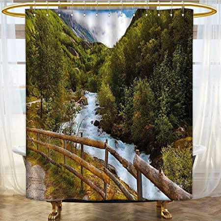 Hotel Quality Mold Resistant Fabric Shower Curtain Norway Scenery With Bridge Briksdal Glacier Travel Themed Art
