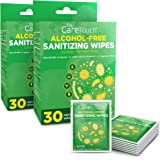Care Touch Alcohol-Free Hand Sanitizing Wipes 2-Pack - 30 Individually Wrapped Hand Wipes with Vitamin E and Aloe Vera - For