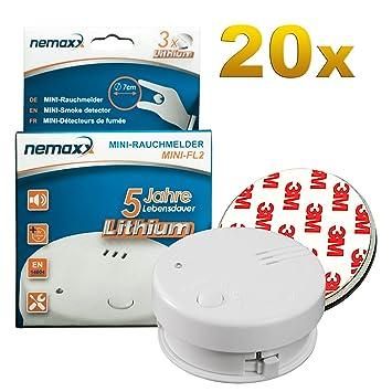 20x Detector de Humo Nemaxx Mini-FL2 Mini Detector de Fuego y Humo con batería