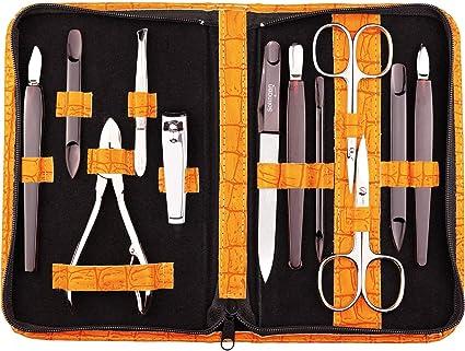 marQus Set de manicura y pedicura de 12 piezas de Solingen Alemania - Set manicura con todo lo necesario para hombre y mujer en estuche de piel sintética color: naranja: Amazon.es: Belleza