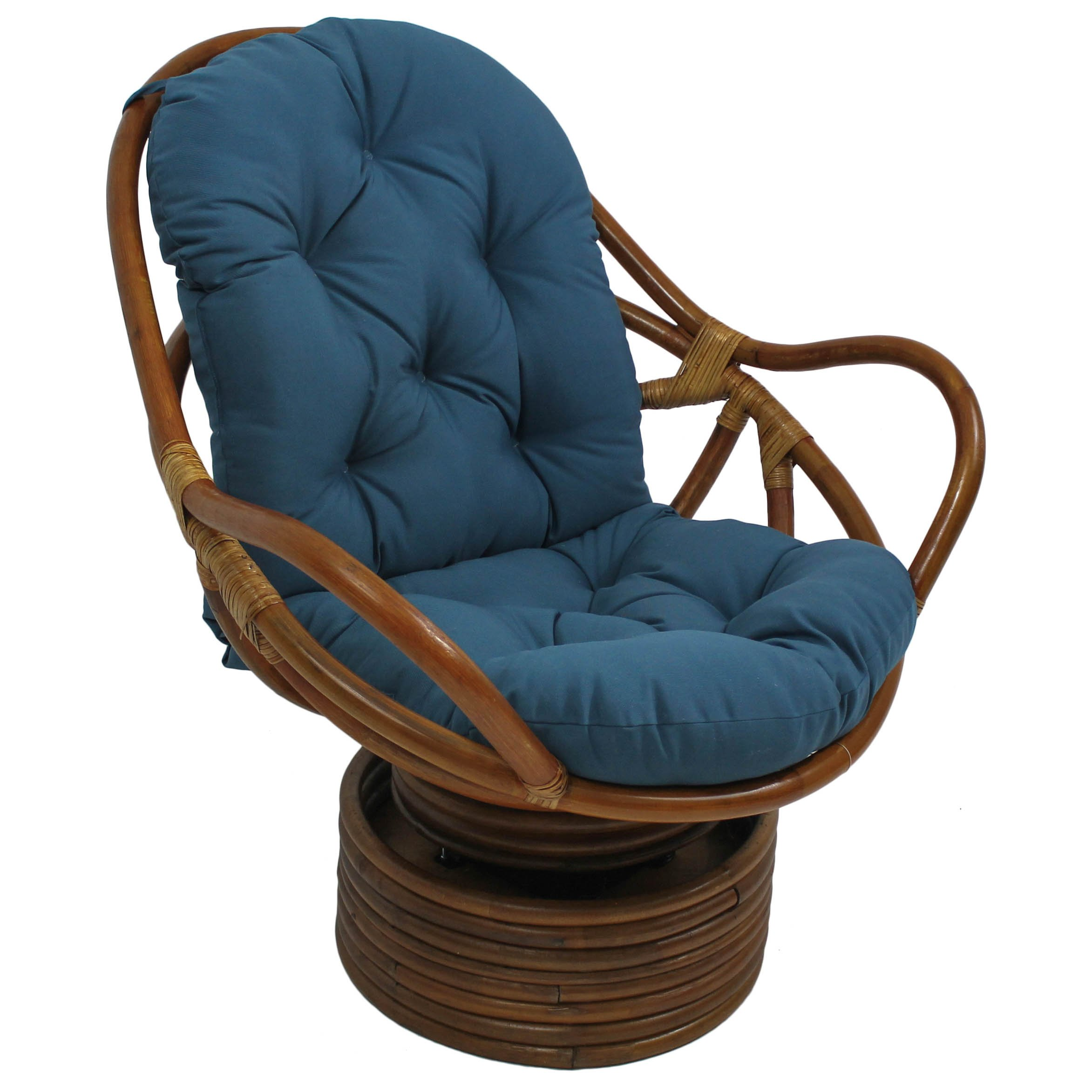 Blazing Needles Solid Twill Swivel Rocker Chair Cushion, 48'' x 24'', Indigo
