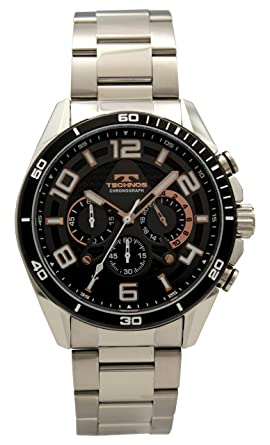 2bb9c77ce7 Amazon | [テクノス]TECHNOS 腕時計 クロノグラフ 10気圧防水 T8584BB ...
