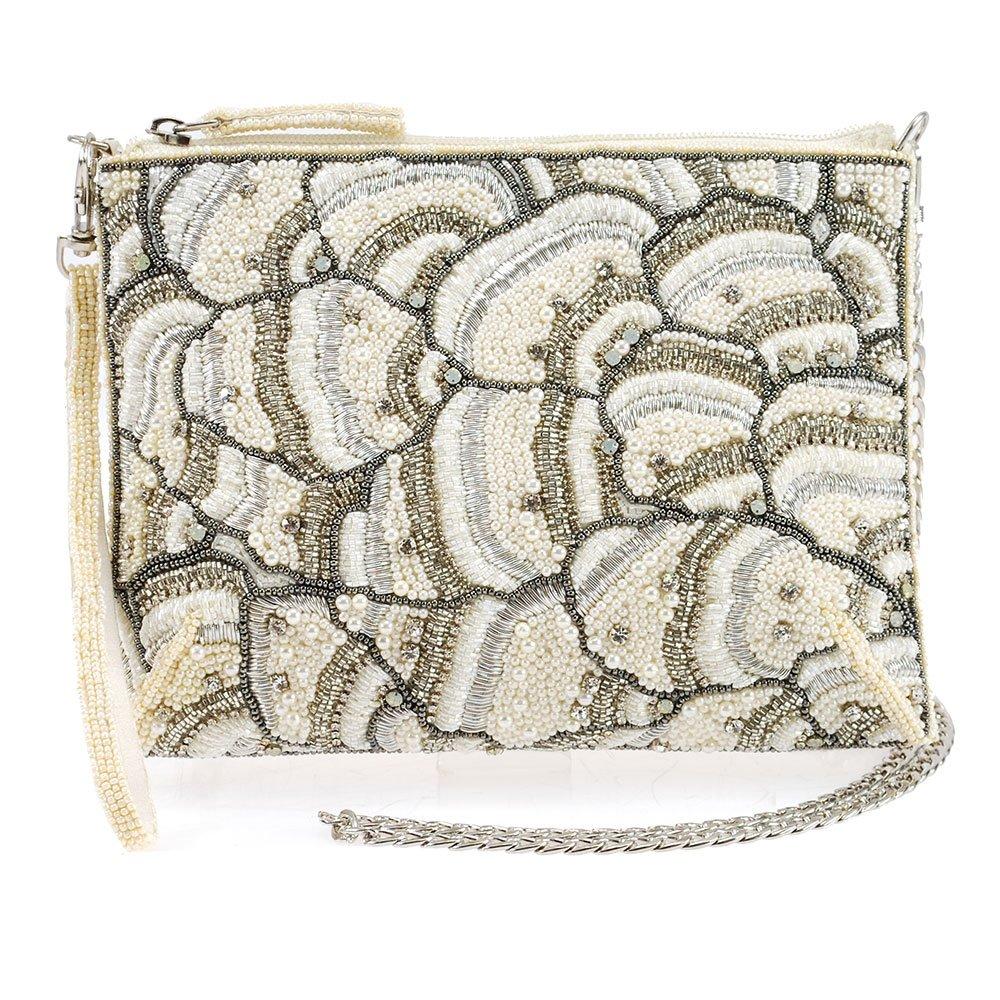 MARY FRANCES White On Embellished Crystals Top Zipper Crossbody Bridal Handbag