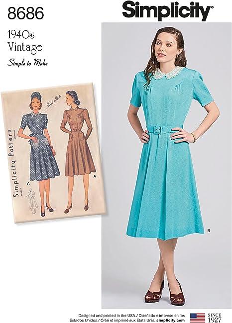 1940er-Jahre Gr/ö/ßen 42-50 Simplicity US8686RS Schnittmuster f/ür Damenkleider Vintage-Stil
