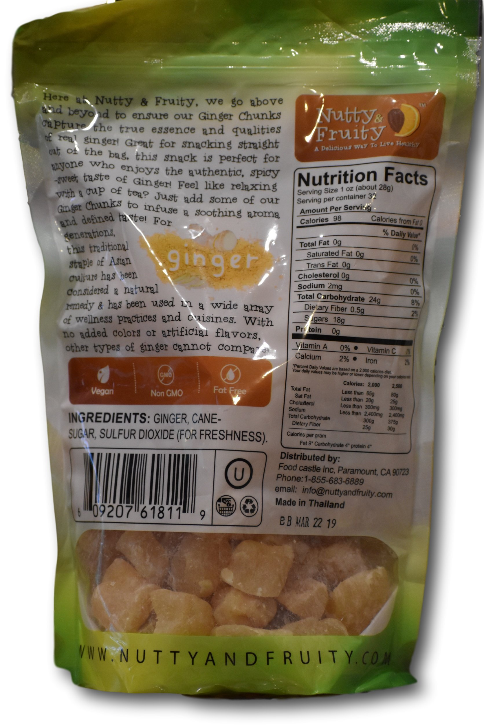 Ginger Chunks- Non crystallized Real Fruit- Soft and Juicy by Nutty and Fruity (Image #2)