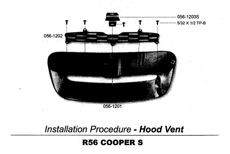Glossy Black Hood Scoop for MINI COOPER R56 S R55//R57//R58//R59 2007~2013 ATEX