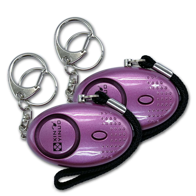 Xinyinuo 2 Pack Purple con recubrimiento UV mini fuerte ataque de pánico de violación de seguridad del personal de Seguridad antorcha llavero llavero ...