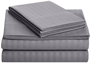 AmazonBasics Deluxe Microfiber Striped Sheet Set, Dark Grey, Full