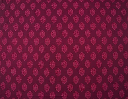 "Motif Printed Purple Cotton Poplin 44/""Inch Wide Fabric By The Metre 200 Tc"