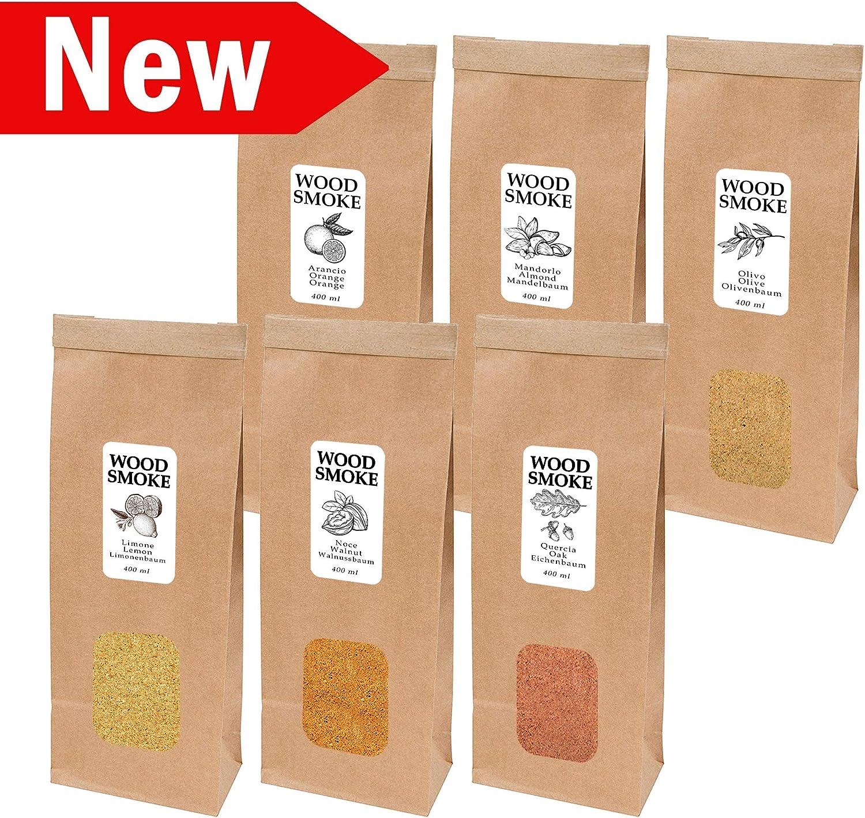 Wood Smoke - Madera para ahumar en frío, ahumador de Cocina – 1 x 400 ml Olivo, 1 x 400 ml Naranja, 1 x 400 ml Almendra, 1 x 400 ml limón, 1 x 400 ml Nogal, 1 x 400 ml Roble