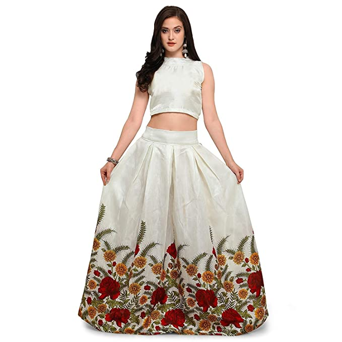 89b38f808c SRF women digital printed banglori satin lehenga choli 2pc long skirt and  top: Amazon.in: Clothing & Accessories