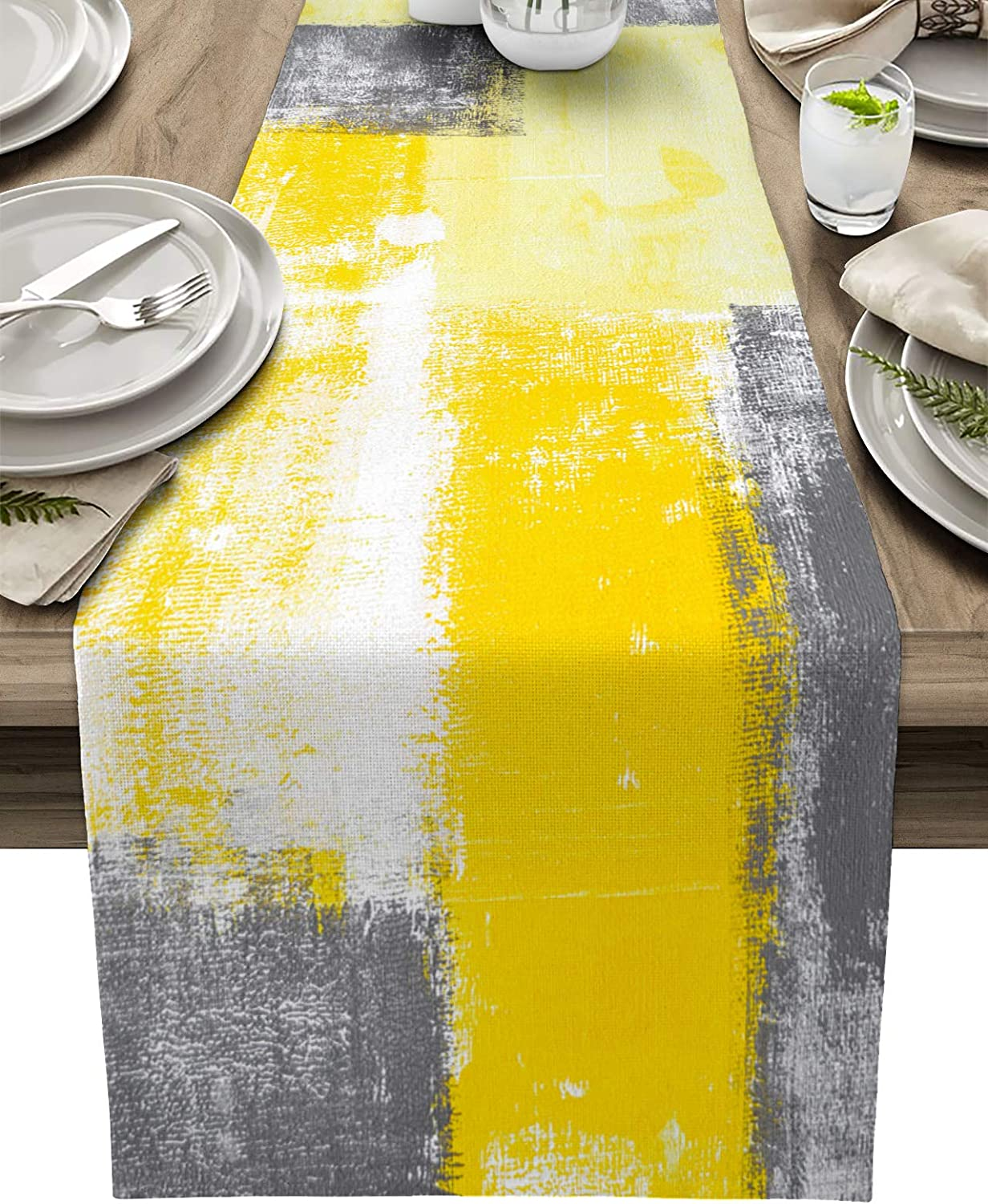 Table Runner Farmhouse Style Burlap Table Runner 13 x 90 Inches, Yellow Gray Modern Abstract Art Painting Graffiti Design Table Runners for Kitchen, Everyday Dining Wedding Party Holiday Home Decor