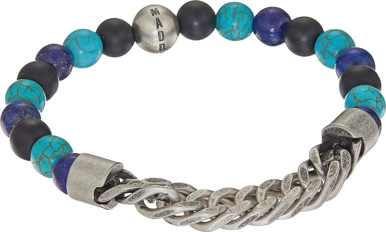 Steve Madden Mens Stainless Steel Lapis Bead Curb Chain Bracelet