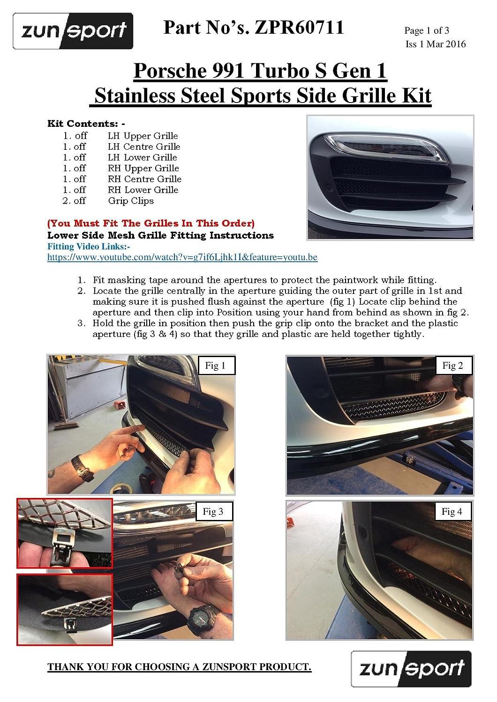 Zunsport 991 Turbo S Gen 1 - Conjunto de Parrillas Exteriores - Acabado Negro (De 2013 a 2015): Amazon.es: Coche y moto