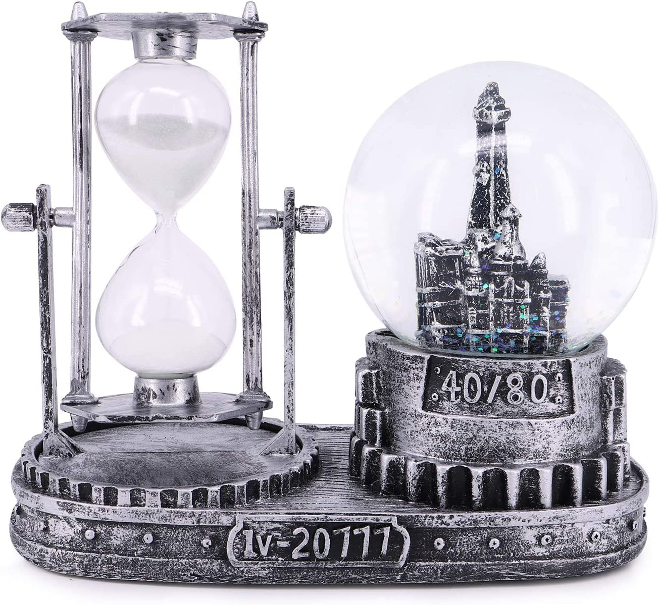 QTKJ Paris Snow Musical Globe with Color Changing LED Lights, Eiffel Tower Snow Globe with Square Base, Retro Souvenirs Collection (Silver 40/80, Hourglass)