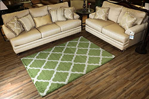 SOHO Shaggy Collection Trellis Lattice Design Shag Area Rug Rugs 3 Color Options Green, 5 x 7