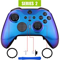 eXtremeRate Chameleon Purple Blue Faceplate Cover, Glossy Front Housing Shell Case Replacement Kit for Xbox One Elite Series 2 Controller Model 1797 - Thumbstick Accent Rings Included