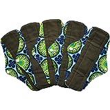 5 Pieces Charcoal Bamboo Mama Cloth/ Menstrual Pads/ Reusable Sanitary Pads (Regular (10 inch), Peacock)