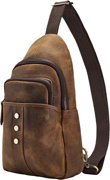 Polare Men/'s Real Italian Leather Casual Daypack Sling Shoulder Chest Crossbody Bag