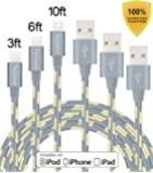 Tecland 3Pack 3FT 6FT 10FT Lightning Cable Nylon Braided Lightning to USB Charging Cord Charger for iPhone 6s,6, 6plus,6s plus, iPhone 5s 5 5c SE, iPad & iPod (gold +gray)