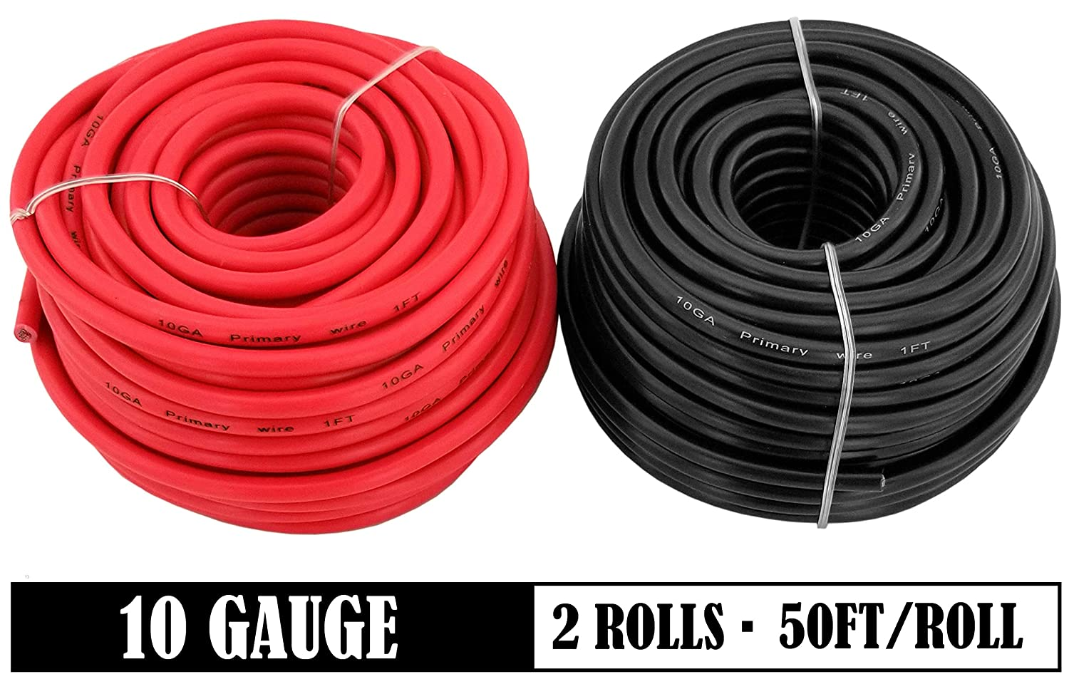 50 ft Red /& 50 feet Black GS Power 10 Gauge Stranded Flexible Copper Clad Aluminum CCA Primary Automotive Wire for Car Stereo Amplifier 12 Volt Trailer Harness Hookup Wiring