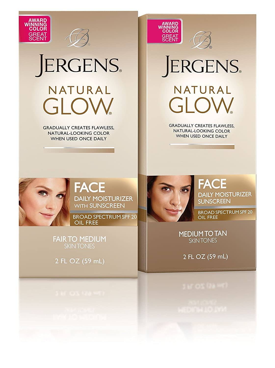 Jergens Natural Glow Oil-free SPF 20 Face Moisturizer, Self Tanner, Medium to Tan Skin Tone Sunless Tanning, 2 Ounce Daily Facial Sunscreen, Featuring Broad Spectrum Protection Across UVA and UVB: Beauty
