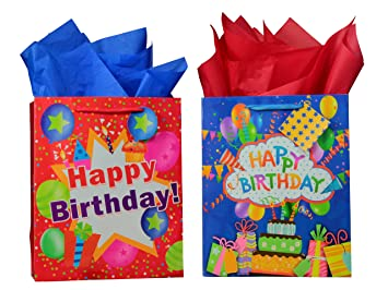 BagLove Large Birthday Gift Bags With Tissue Paper 2 Pack 105quot X 13quot