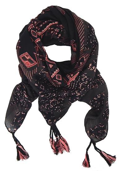 cef9ba3e6861 Ella Jonte Foulard Écharpe triangle femme élégant et tendance de la  dernière collection noir rose coton