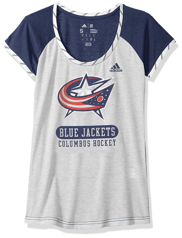 Adidas NHLレディーススケートレースS/S Tee B074TZPR3N X-Large|White Heathered|Columbus Blue Jackets White Heathered X-Large