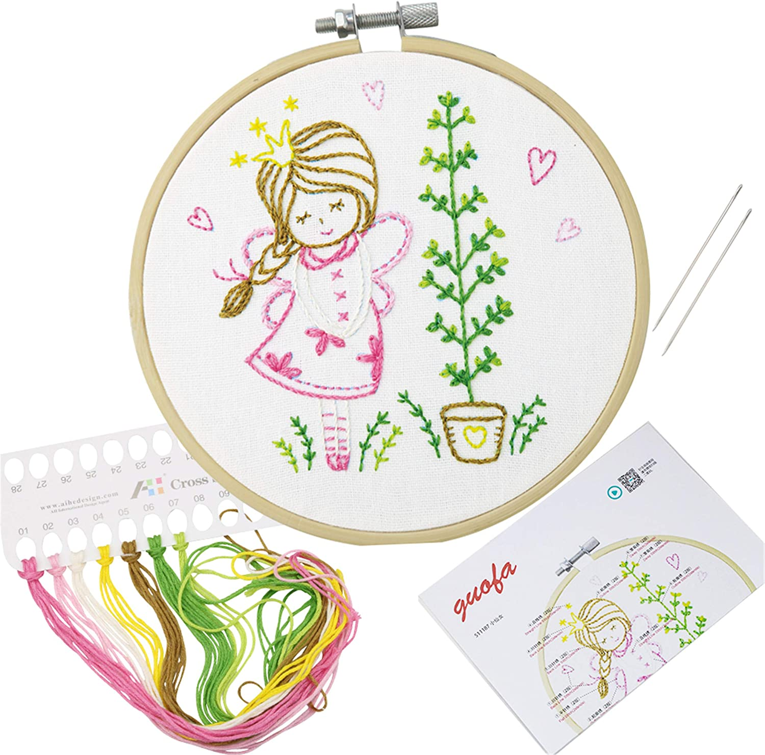 Embroidery Cloth 511182 Color Threads Neddle and Instruction for Beginners Full Range of Handmade Embroidery Starter Kit with Various Patterns Including Embroidery Hoop