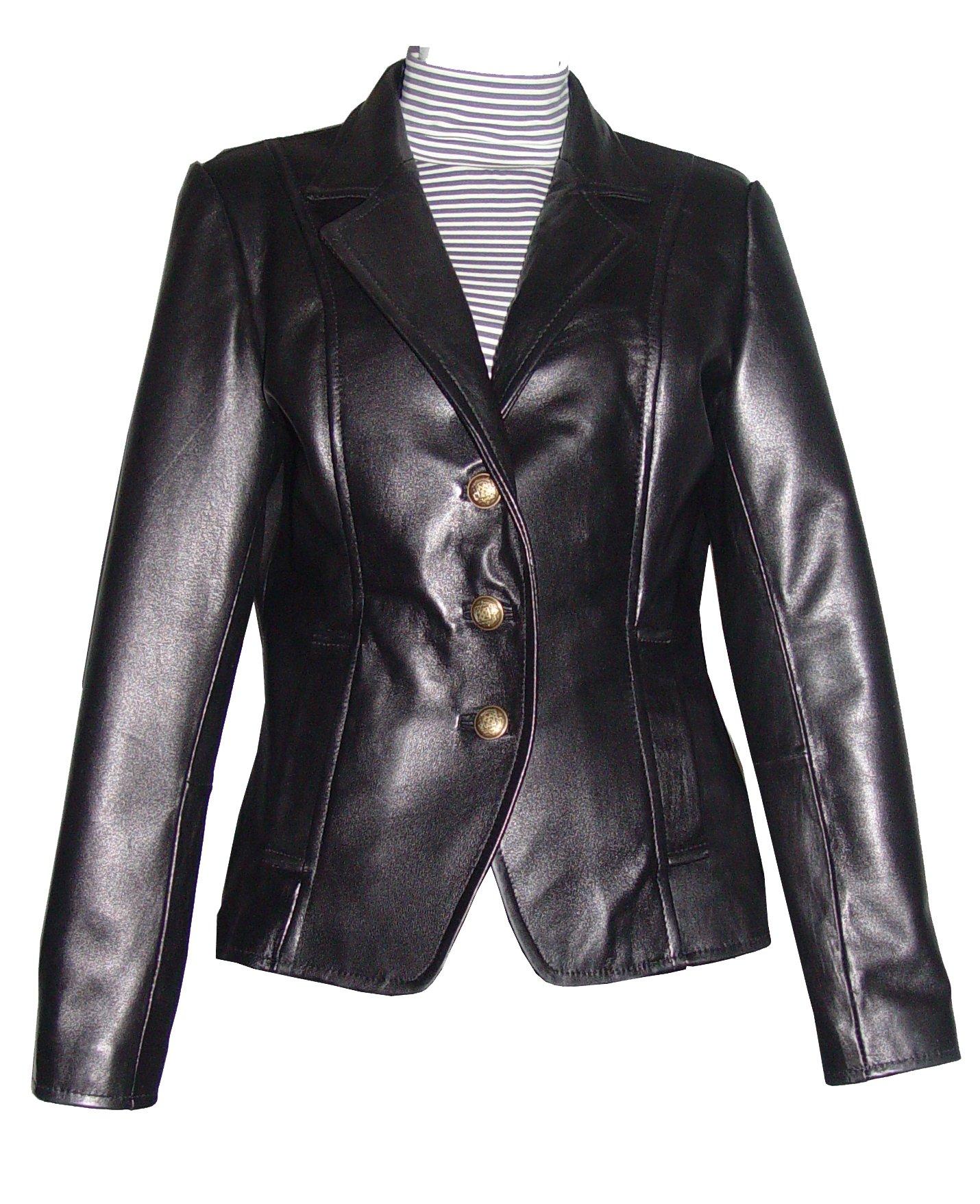 Nettailor Women PLUS & ALL SIZE 4059 Basic Leather Short Blazer