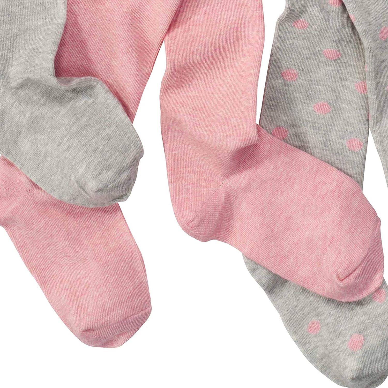 alta quota di cotone WELLYOU collant per bambini rosa collant per bambini-neonato per bambina set di 3 grigio con puntini