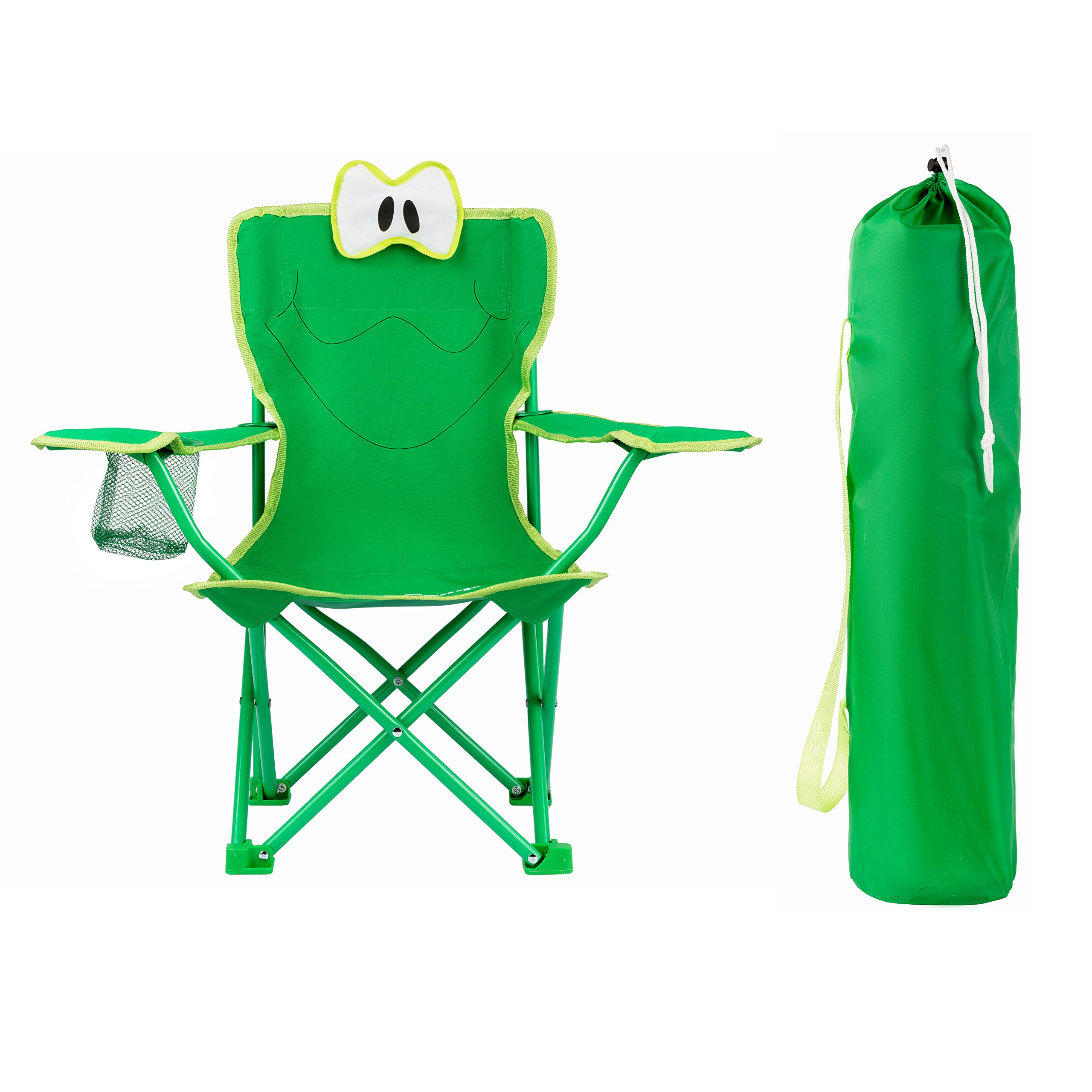 KingCamp Kids Stable Cartoon Frog Folding Steel Chair with Cup Holder, Armrest and High Back