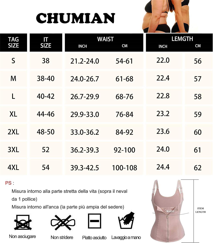 Chumian Donna Corsetto Vita Dimagrante Body Modellante Cintura Intimo Shaper Training Vestiti Shapewear Contenitivo Snellente