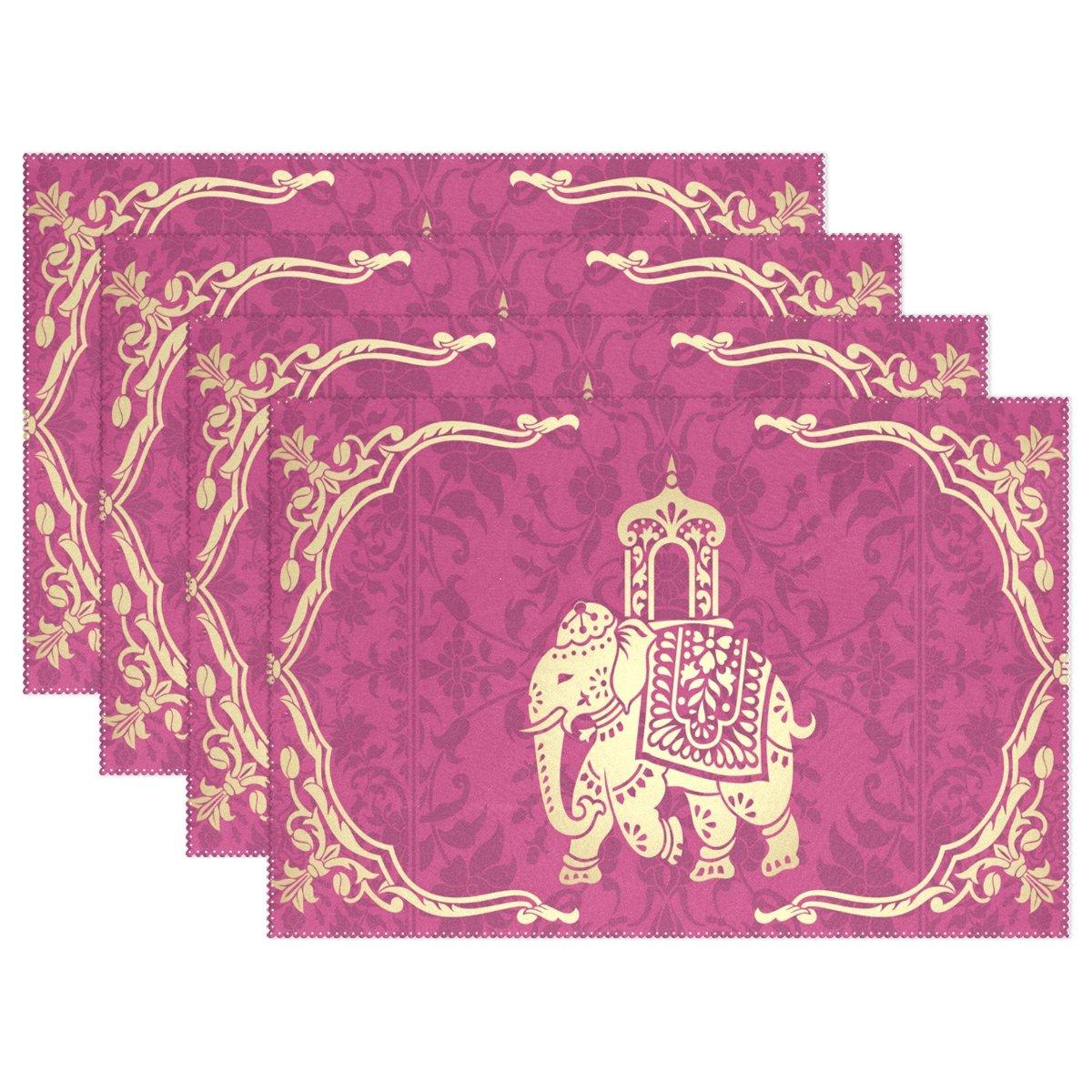 Hippie Indian Elephant Mandalaプレースマットテーブルマット、12