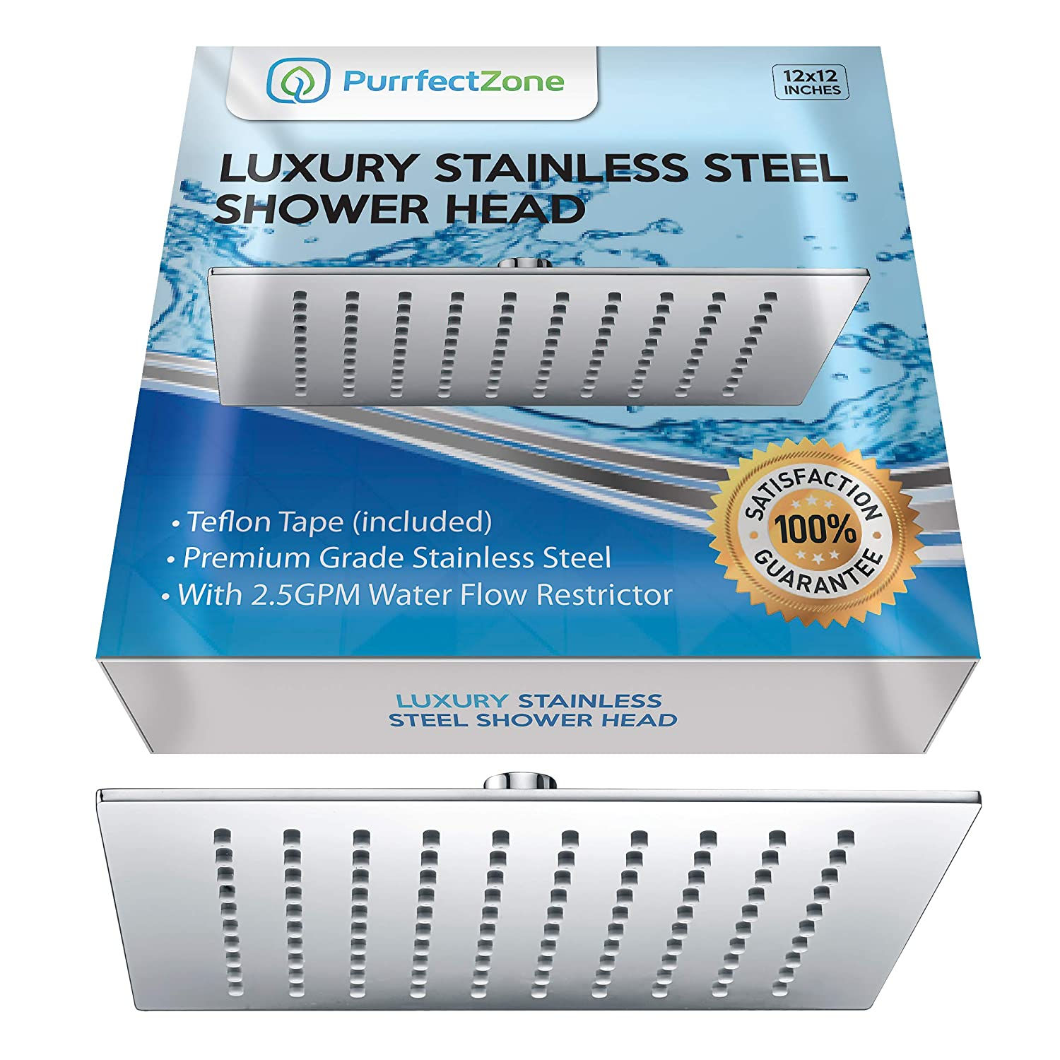 PurrfectZone Top Rated Luxury 12 inch Large Rain Shower Head Made of 4 mm Thick Solid Stainless Steel Brass in Beautiful Chrome Finish. Perfect for Getting a Good Drenching Waterfall Shower