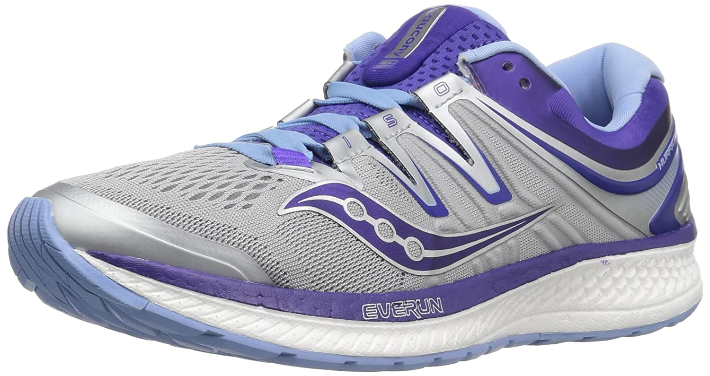 Saucony Women's Hurricane Iso 4 Running Shoe B072MFRC33 9 B(M) US|Grey/Purple
