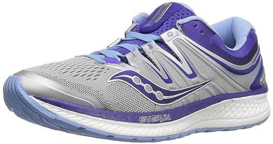 Saucony Women's Hurricane Iso 4 Running Shoe, Grey/Purple, 10.5 Medium US