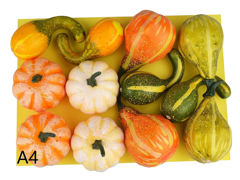 JEDFORE 12Pcs Lifelike Simulation Realistic Mixture of Artificial Pumpkins Fake Vegetable Fruit for Home Decoration
