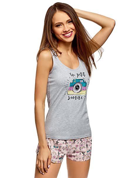 399840d99d25 oodji Ultra Mujer Pijama Estampado con Pantalón Corto, Gris, ES 36 / XS:  Amazon.es: Ropa y accesorios