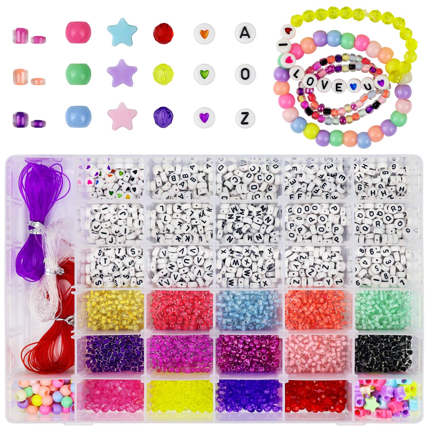 AK KYC 2000pcs Glass Seed Beads Acrylic Alphabet Letter Beads 4MM Complete Kit for Name Bracelets Necklaces Jewelry Making and Crafts Small Beads for Kids and Adults
