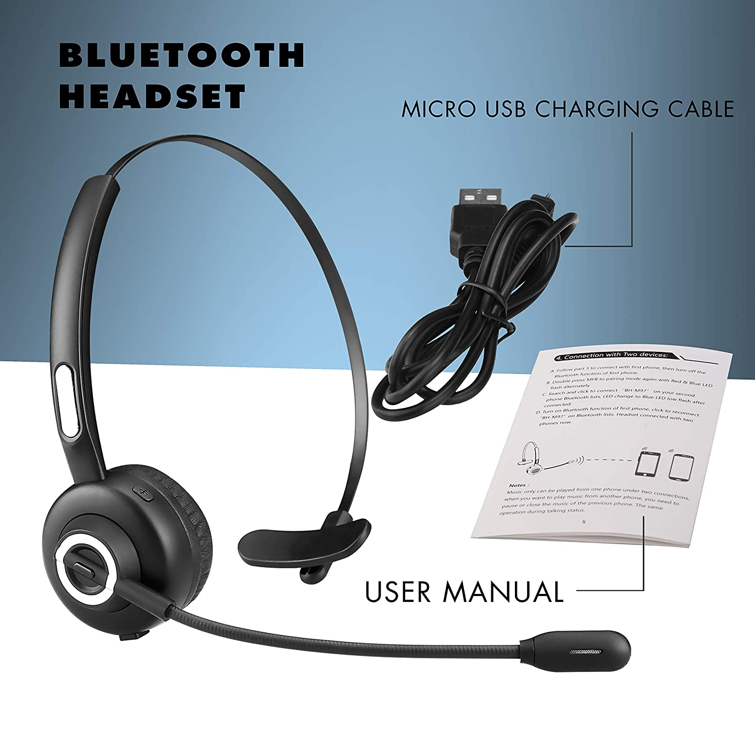BlueFire Upgraded Over-The-Head Bluetooth Headphone Trucker Bluetooth Headset Wireless Headset with Mic for Cell Phone Skype Truck Driver Call Center Support Media Playing
