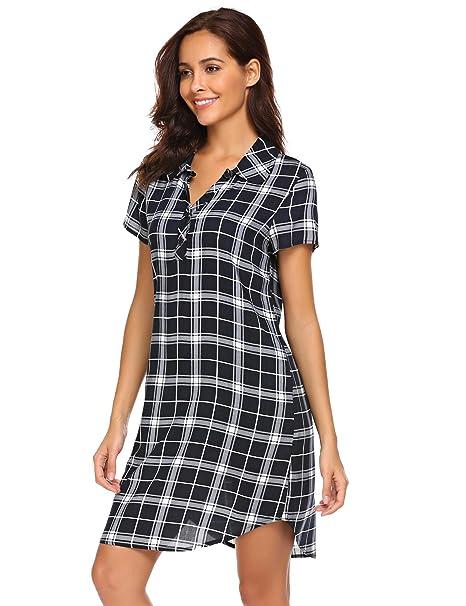 Miuniu Women Sleep Shirt Short Sleeve Plaid Button-Front Nightshirts ... 704590d9e