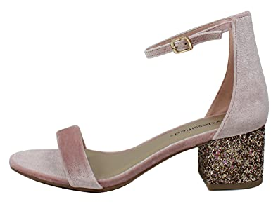 d56823280de Image Unavailable. Image not available for. Color  City Classified Women s  Open Toe Velvet Ankle Strap Glitter Block Heel Sandal ...