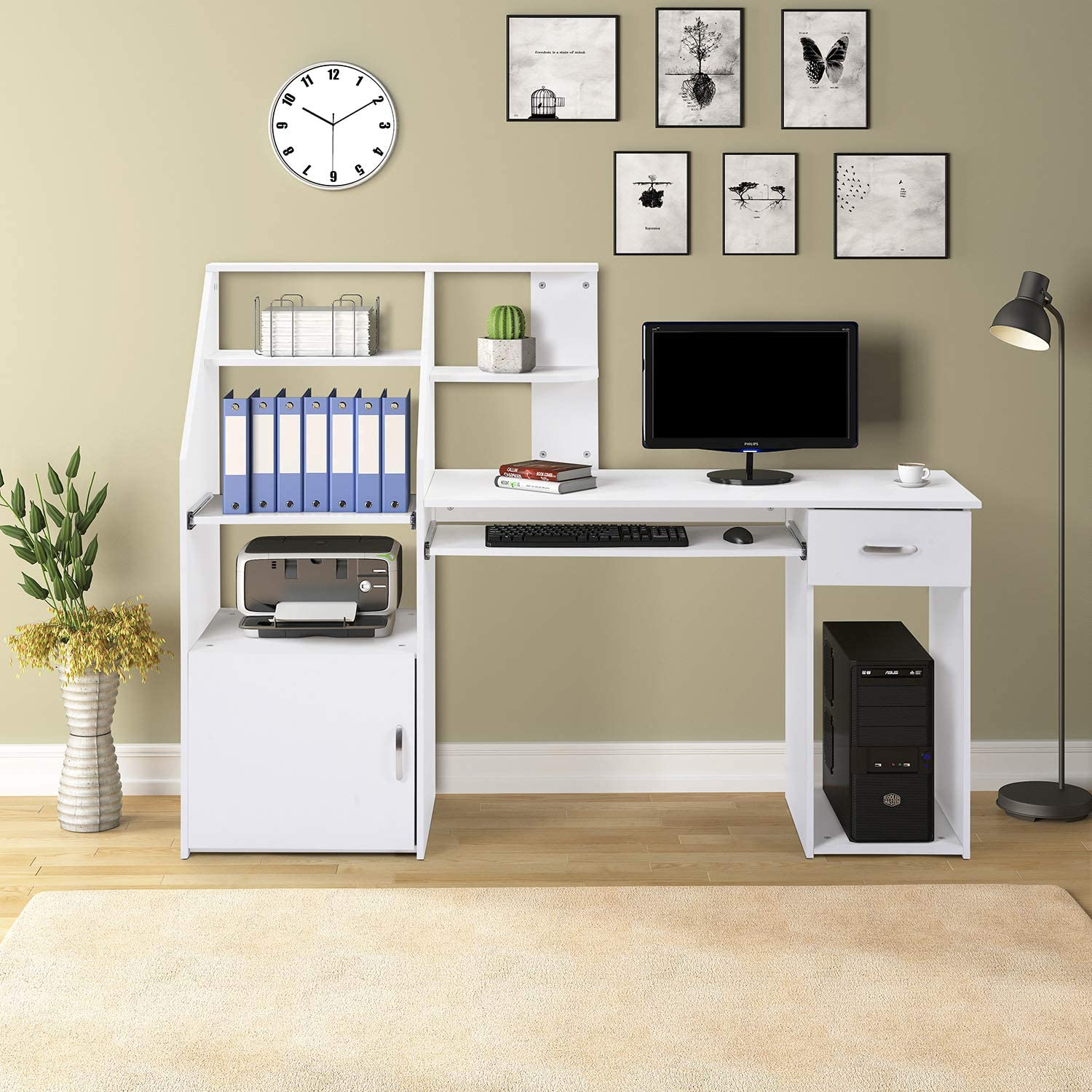 Merax Computer Desk with Cabinet,Home Office Desk, Computer Workstation, Study Writing Desk with Storage Drawer and Pull-Out Keyboard Tray(White)