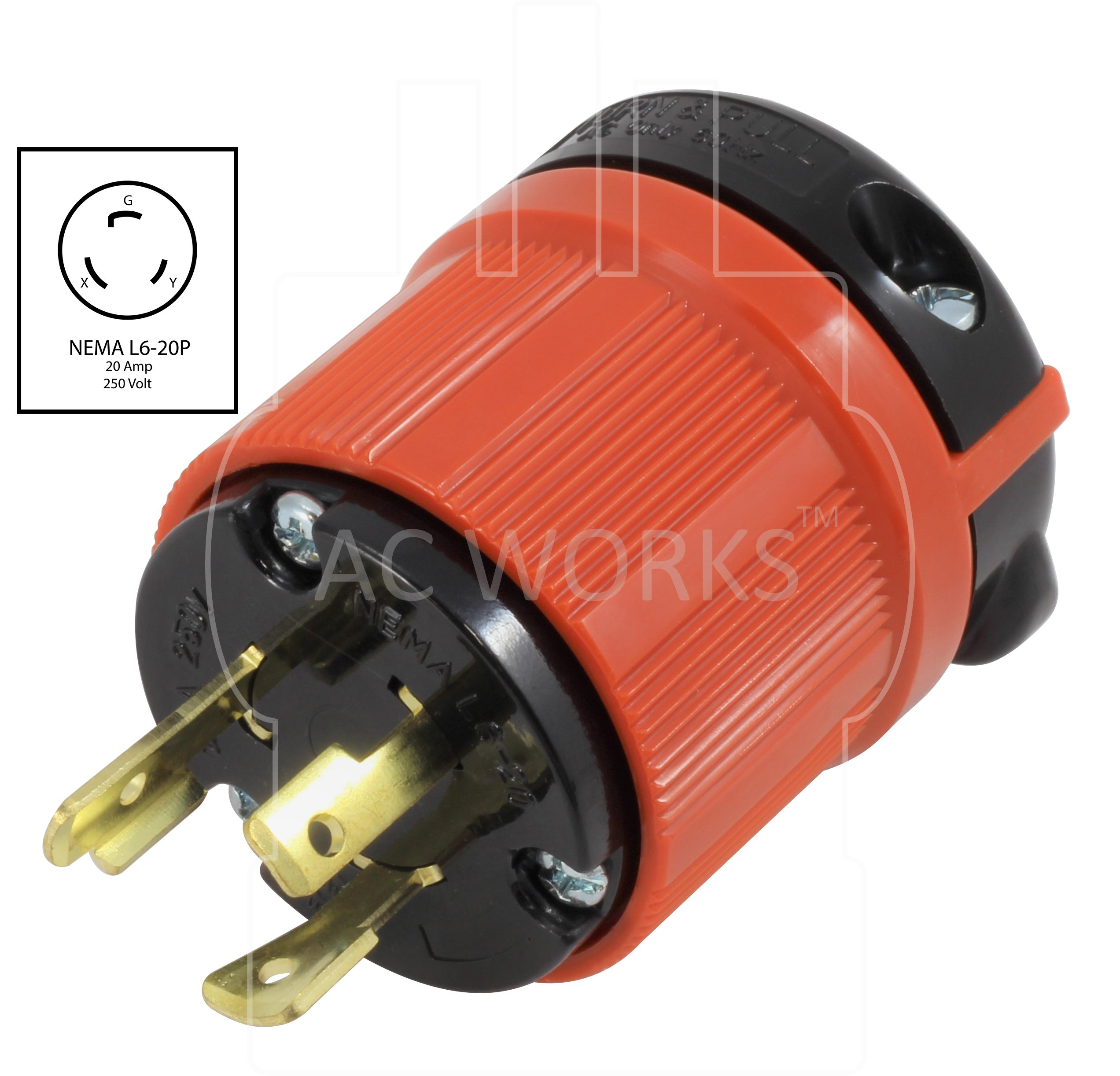 AC WORKS [ASL620P] NEMA L6-20P 20Amp 250Volt 3 Prong Locking Male Plug With UL, C-UL Approval by AC WORKS (Image #2)