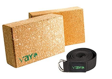 Amazon.com : VaYo Concept Cork Yoga Blocks and Strap Set ...