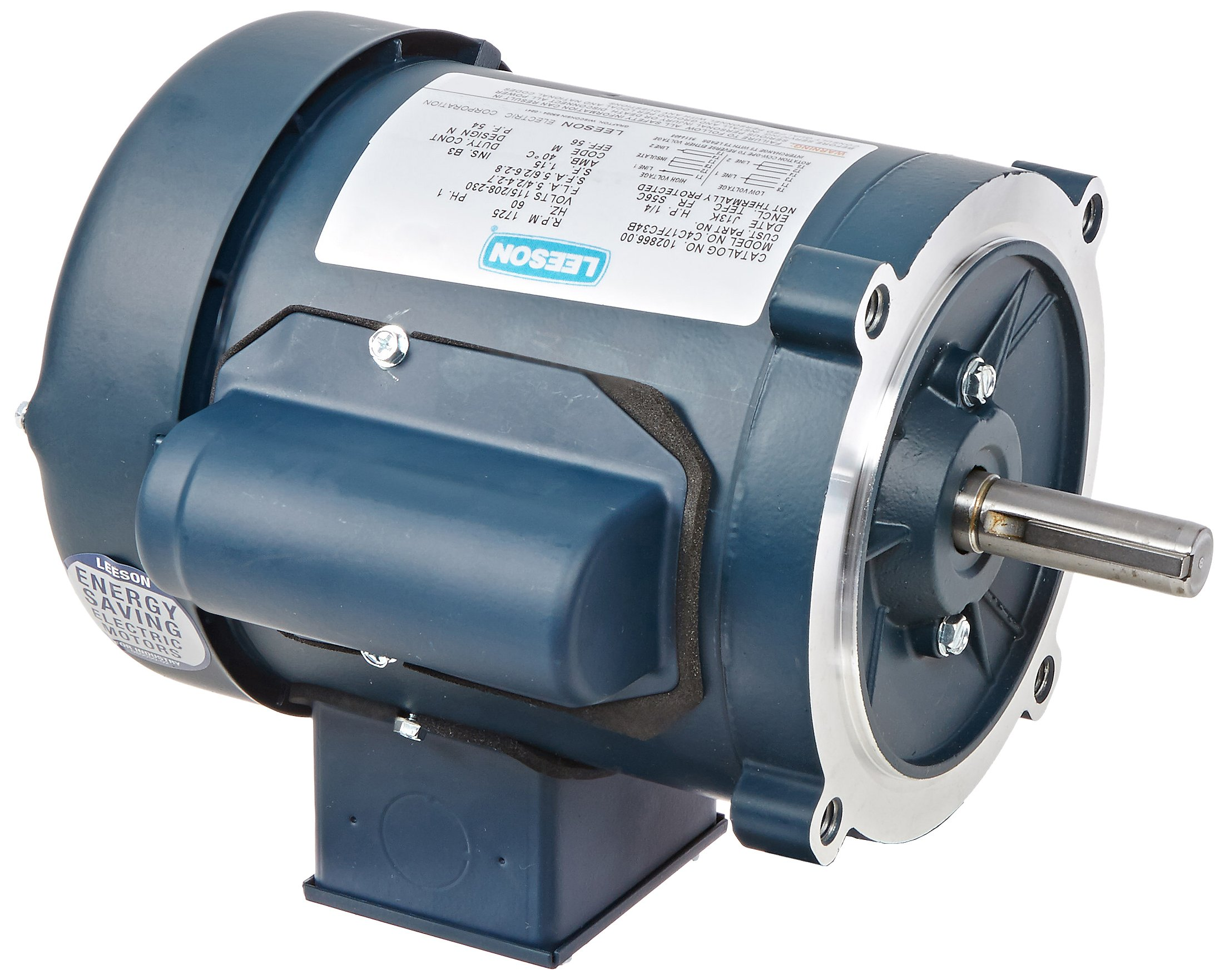 Leeson 102866.00 General Purpose C Face Motor, 1 Phase, S56C Frame, Round Mounting, 1/4HP, 1800 RPM, 115/208-230V Voltage, 60Hz Fequency