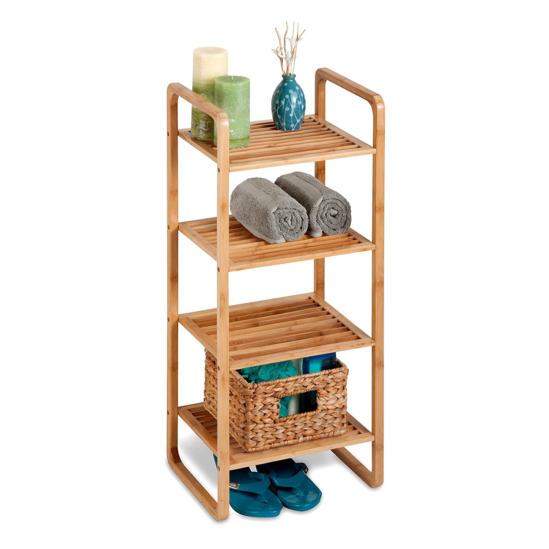 Amazon.com: Honey-Can-Do SHF-02099 4-Tier Natural Bamboo Accessory ...